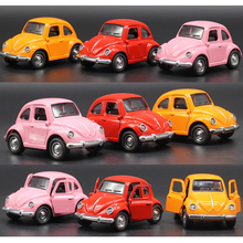 Alloy Retro Vintage Antique Car Wecker VW Volkswagen Beetle Car Diecasts Vehicles Model Toys Pullback Acousto-optic Toys(China)