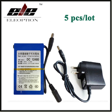 5x DC12480 High Quality DC 12V 4800mAh Super Rechargeable Li-ion Battery Pack For CCTV Camera Video With Plug(China)