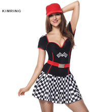 Kimring Sexy Racer Car Halloween Costume Adult Women Speed Racer Clubwear Fantasy Costume Cosplay Fancy Dress(China)