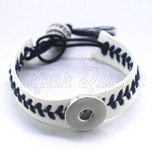 2 colors Artificial leather baseball 12/18mm Snap Button bracelet B320 watches women one direction Female Sterling  DIY jewelry