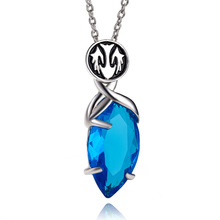3D Game Final Fantasy Crystal Chronicles Yuna Necklace Blue Crystal Drop Pendants Classic Punk Women And Men Statement Necklace