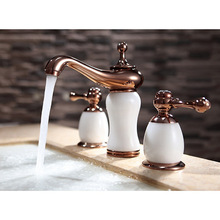 Luxury Jane stone natural jade brass 3 Pcs Golden Color Tap 2 Handle Waterfall Tap Bathroom Basin Sink Bathtub Mixer Faucet