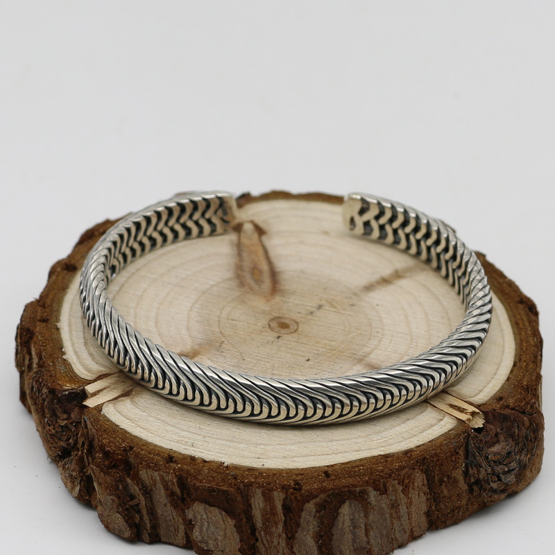 Braided Sterling Silver 925 Mens Cuff Bracelet Oxide Pure Silver 925 Simple Stylish Mens Jewelry Thai Silver Male Bangle Gifts