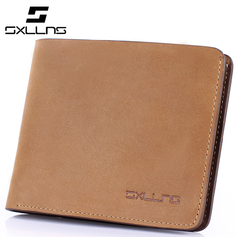 2017 Hot Men Wallets Famous Brand Solid Colors Mens Cowhide Short Wallet Genuine Leather Retro Casual  Purse Credit Card Holder<br><br>Aliexpress