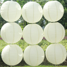 Beige Color Chinese Paper Lanterns 10-15-20-25-30-35-40cm for wedding Lantern decoration DIY fashion color round folding lantern