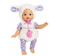 "Original 13"" Little Mommy Dress Up Cutie Reborn Baby Bunny Doll  / with Plush White Purple Clothes Nipple / Girl's Gift Toy"