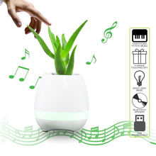 NOW 2017 Creative speakers Smart Flowerpot Colorful LED Play Piano on Real Plant Inductive Music Flower Pots Bluetooth Speaker(China)
