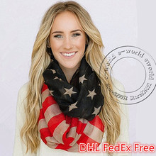 DHL Free 50pcs Vintage American Flag Scarf USA Flags Infinity Scarves 4th of July Pashmina Shawls Hijab Girls Accessories A0499(China)