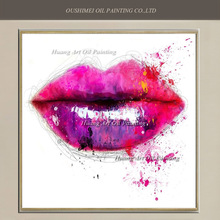 Skilled Painter Hand Painted Oil Painting Abstract Colorful Sexy Women Pink Lip Painting On Canvas For Room Wall Decor(China)