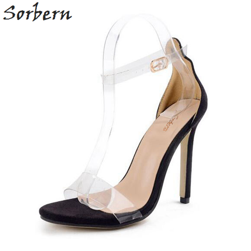 Sorbern Cheap Plastic Women Sandals Black Evening Party Shoes Summer Style Ankle Straps Sandal 11cm High Heels Kim Kardashian<br>