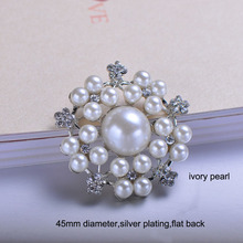 (J0237) 45mm Pearl Cluster For Invitations, Rhinestone Embellishment,nickle plaitng,ivroy pearl,flat back,100pcs/lot