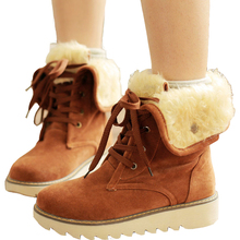 New Hot Autumn Winter Warm cheap shoes fashion snow boots Motorcycle simple artificial fur leather casual female ankle shoes