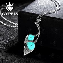 N028-C 2017 Fashion leaf hot popular noctilucent necklace punk glow vintage magic Luminous CYPRIS NIGHT LIGHT