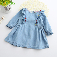 Sotida Girls Denim Dresses 2017 Children Clothing Spring Casual Light Blue Girls Jeans Heart Embroidery Dress Kids Clothes