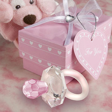 2015 New Europe and America style crystal wedding gift pacifier crystal Baby Shower Favors mass blue pink