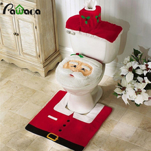 3Pcs/set Christmas Santa Toilet Seat Cover Bath Mat Holder Lid Cover Santa Toilet Claus Seat Cover Rug Bathroom Decoration Gift(China)