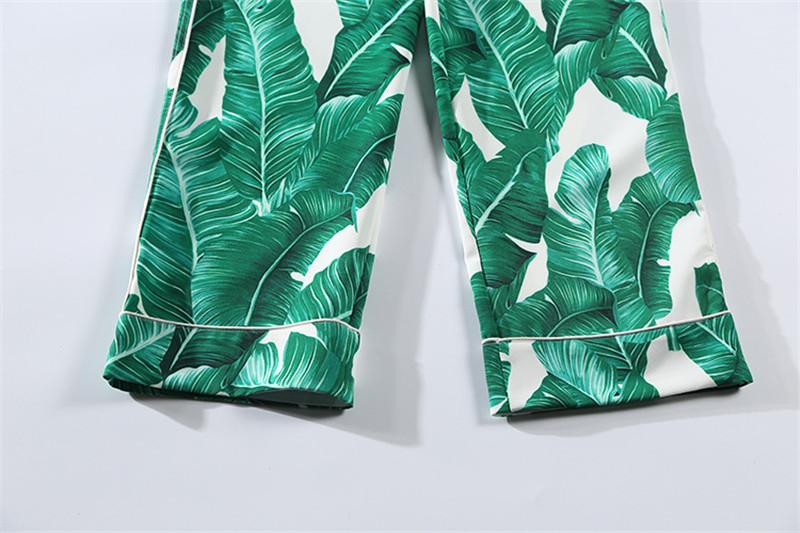 Brand Fashion Two Piece Set Women Runway Suit Fashion Green Leaf Print Dragonfly Beading Shirt + Elastic Waist Pants Sets 21