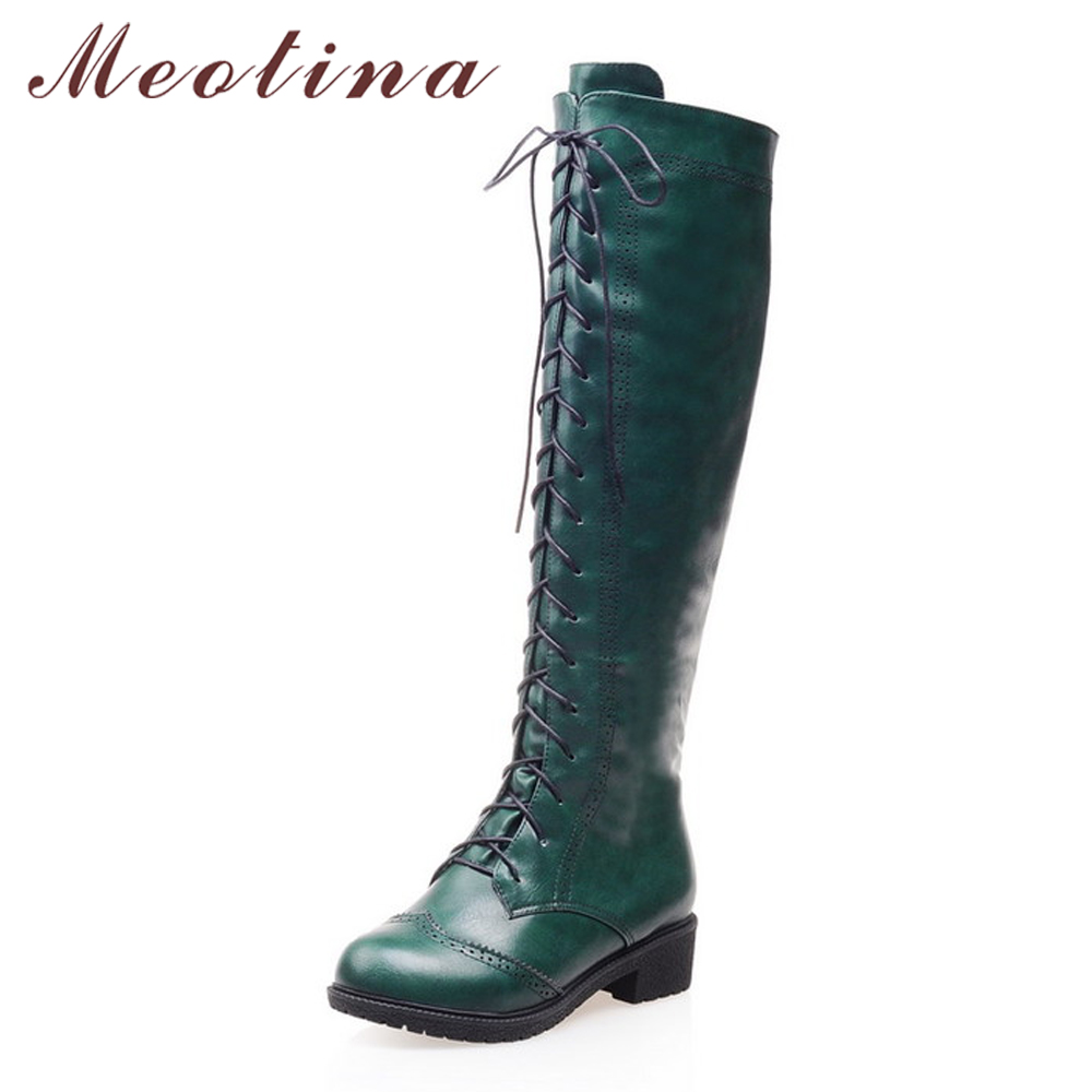 Meotina Women Motorcycle Boots Round Toe Chunky Heel Riding Boots Shoes Female Lace Up Knee High Boots Black Green Size 34-39<br>