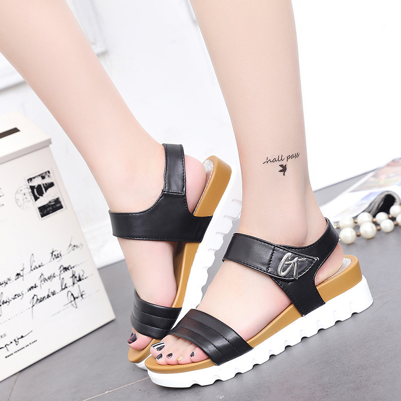 2017 new summer sandals on the female in the new han edition peep-toe shoes with wedges sandals sandals female students<br><br>Aliexpress