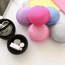 Practical Canvas Portable Earphone Case SD/ TF Cards Bag Carrying Case Bag Coin Key Purse Small Round Bag  Blue/ Pink/ Rose red