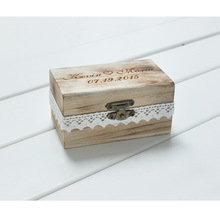 Personalized Gift Rustic Wedding Ring Bearer Box Custom Your Names and Date Engrave Wood Wedding  Ring Box