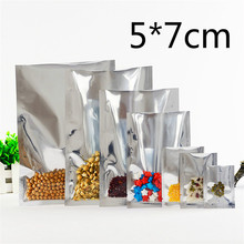 5*7cm Open Top Silver Aluminium Foil Clear Plastic Pack Bag Vacuum Pouches Heat Seal Party Gift Bag Food Storage Package Bags(China)