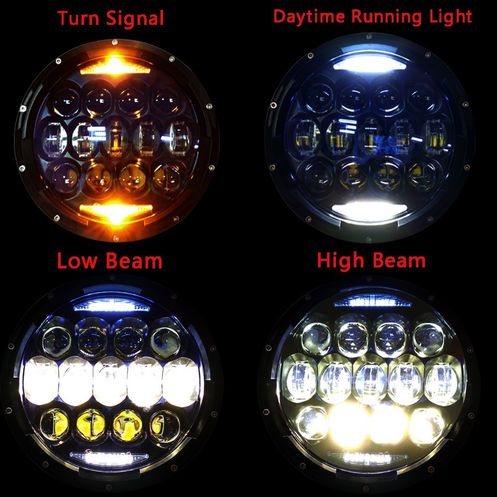 Exclusive Blue Projector Lens Brightest 7 inch LED Headlights Amber Turn Signal DRL Bulbs Kit for Jeep Wrangler JK LJ JKU TJ CJ Sahara Rubicon Freedom Dragon Edition Unlimited Headl