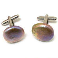 17x18mm Natural Lavender Coin Pearl 925 Sterling Silver Cufflink