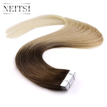 "Neitsi Straight Brazilian Skin Weft Hair 100% Human Hair Remy Tape In Hair Extensions 16"" 18"" 20"" 22"" 20pcs/pack 14 Colors"