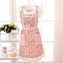 Fashion 1Pc Sleeveless Checked Floral Rose Polka Dot Women Lady Apron With Pocket For Kitchen Cooking