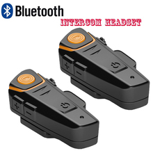 BT-S2 Motorcycle Helmet Bluetooth Intercom 2 Riders Talking Interphone Headphone Handfree with FM Radio Max 1000M