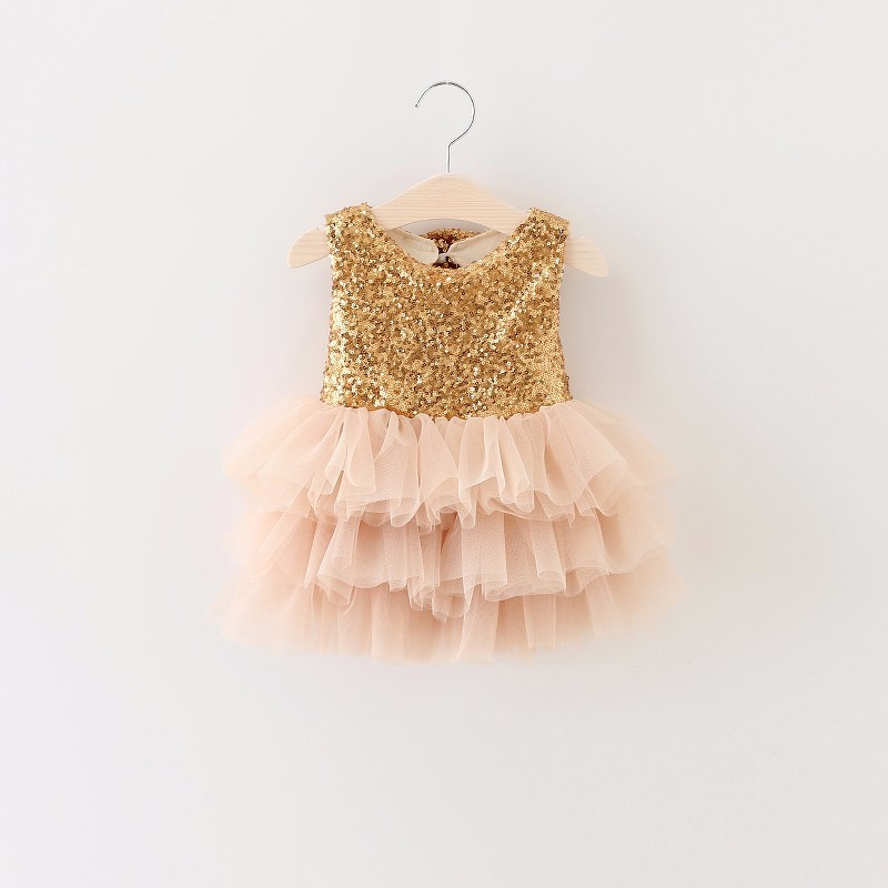 Girls Princess Dress 2017 Summer Girl Fashion Lace Tulle Cake Gold Party Wedding Dresses With Bow Kids Dress For Girls 2-6Y<br>