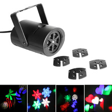 4 Snow Heart Card Gobo Stage Light with Changeable Multi-pattern Cards LED RGB Laser Projector Light For Festival Party Show(China)