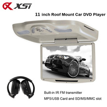 XST 11 Inch Car Roof Flip Down TFT LCD Screen 800*480 Monitor Mount DVD Player With USB/SD/MP5/IR/FM Transmitter/Wireless Game(China)