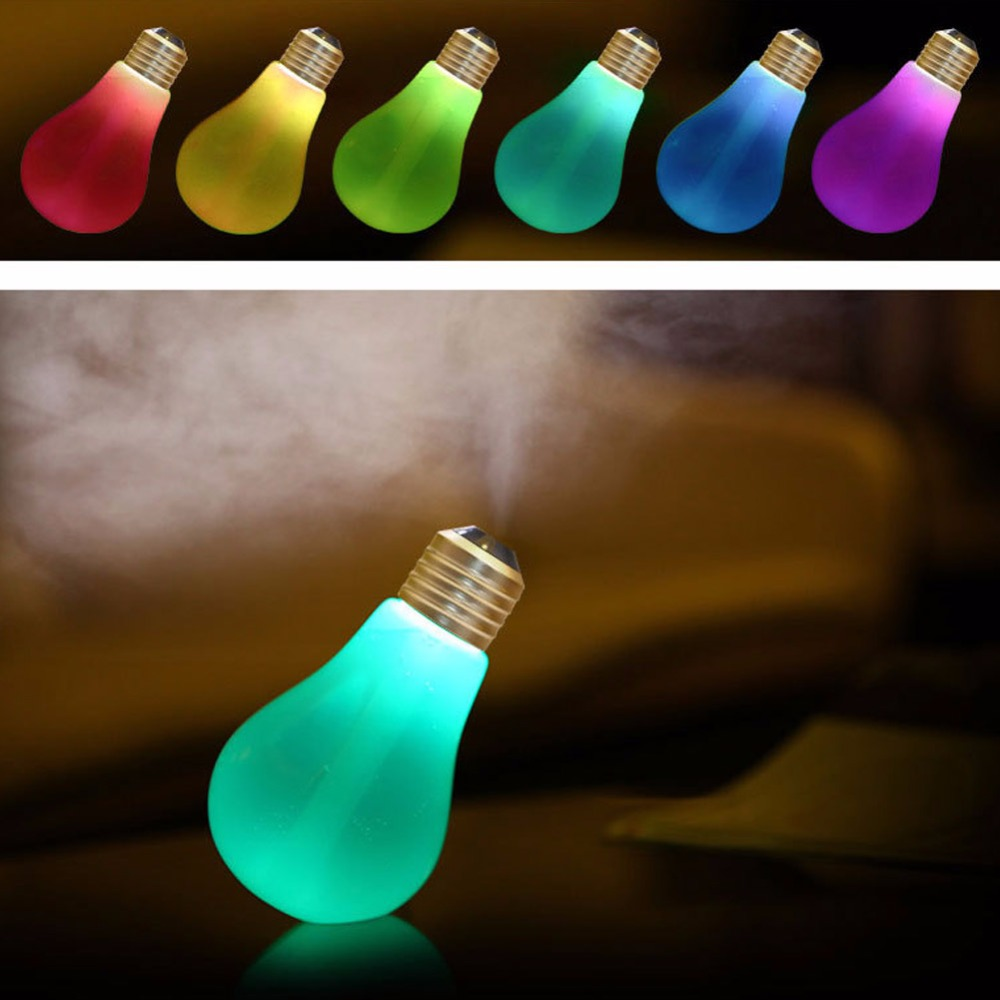 Mini Portable 400Ml Colorful USB Light Bulb Humidifier Home Office Air Purifier  Diffuser Aromatherapy Atomizer bottle
