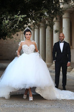 Bridal Wedding Dress High Low Muslim Wedding DressWith Detachable Train Sheer Neck Illusion Bodice Short Front Long Back Gowns