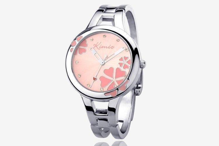2016 Women Kimio Brand Casual Fashion Quartz Bracelet Wristwatch Stainless Steel Clover Crystal Lady Dress Watches