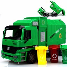 Big Size Jumbo Kids Truck Large Loading Garbage Car With 3 Rubbish Bin Toys
