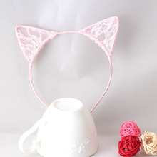 Fashion Girls Sweet Hair Hoop Kids Birthday Gifts Hair Ornaments Headband Party Hair Accessories Lace Cat Ear Shape Hair Band(China)