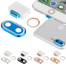 3.5mm Earphone & 8 Pin Port Dust Plug + Back Camera Lens Metal Protective Protector + Home Button Sticker for iPhone 7 /7 Plus(China)
