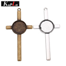 Kupla Metal Cross 20mm Round Pendant Cabochon Glass Cabochon Settings DIY Accessories for Jewelry Cross Pendant Base C5669(China)