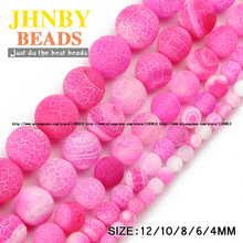 JHNBY AAA Rose Weathered carnelian beads Natural Stone Pink Round Loose beads ball 4/6/8/10/12MM Jewelry bracelet making DIY