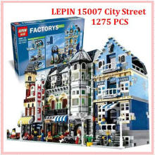 LEPIN 15007 1275Pcs City European Market Street DIY Active Building Block Assemble Brick Kid Toy Gift brinquedo For Collection(China)