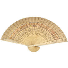 20cm Home Decoration Crafts Bamboo Wooden Fan Summer Accesory Art Folding Carved Hand Fan Party Favor(China)