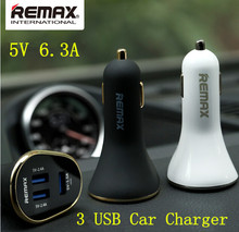 Remax 3 usb output 2.4A +2.4A+1.5A Super Fast USB Car Charger For Samsung Note4 xiaomi redmi Apple iPhone 5S 6 Plus iPad iPod(China)