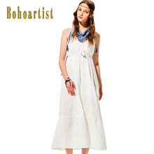 Bohoartist Summer Long Dress Classic White Tassel V Neck Spaghetti Strap Sleeveless Pleated Backless Beach Sexy Maxi Dresses