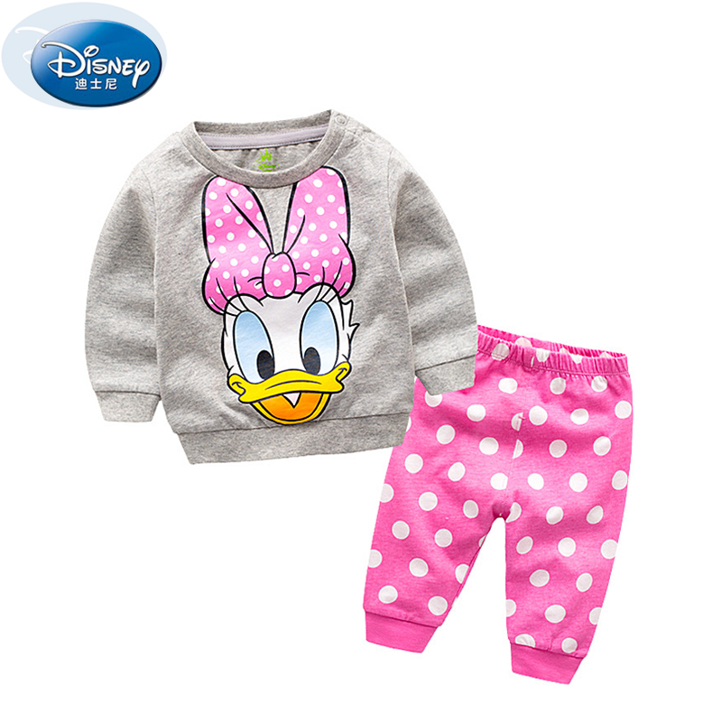 Disney 2017 Fashion 4 Color 2PCS Baby Cloth Sets Donald Duck Cartoon Cute Boy Girls Outwear Suits Pure Cotton babysuits+pants<br>
