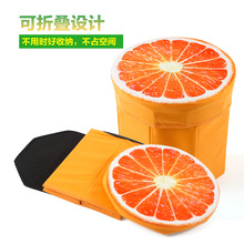 Flannel fruit storage stool, changing his shoes stool creative toy storage box(China)