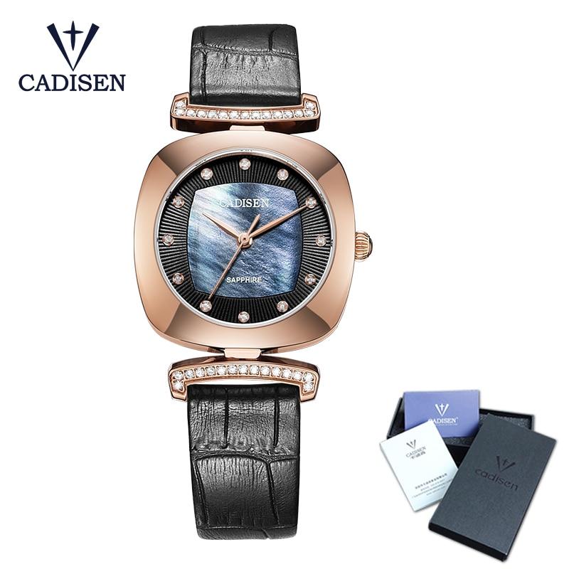 Cadisen 2018 Fashion Luxury Brand Watch  Leather Quartz Ladies Watches Hour montre femme relogio feminino Stainless steel Watch<br>