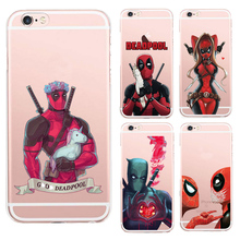Anime Marvel Soldier Deadpool Back Case For iPhone 6 6S Plus Case Marvel Comics Superhero Silicone Phone Cover Fundas